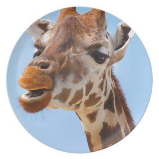 Grumpy African giraffe Party Plate