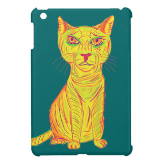 Grumpy and Confused Yellow Cat, Naive Style iPad Mini Cover