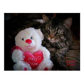 Grumpy Angel Cat and Heart Teddy Bear Postcard
