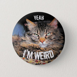 Grumpy Angel, Yeah I'm Weird Cat Meme Button