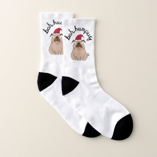 Grumpy Bah Humpug With Text Pun Christmas Socks
