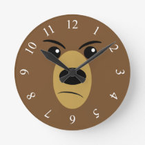 Grumpy Bear Face Round Clock
