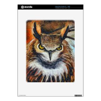 Grumpy Big Ear Owl Decals For The iPad