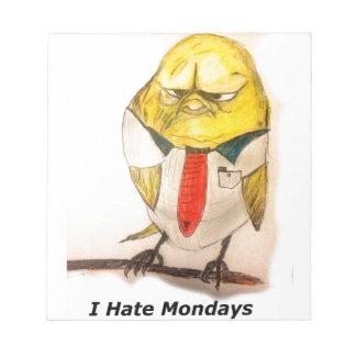 Grumpy bird note pad