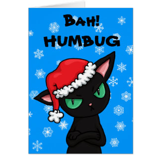 Grumpy Black Cat Bah Humbug Christmas Greeting Card