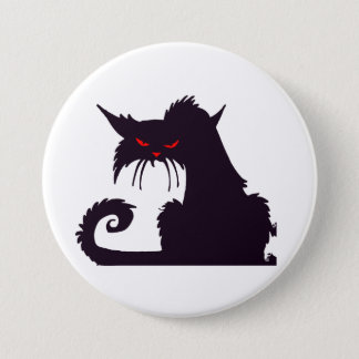 Grumpy Black Cat Button