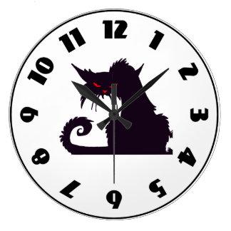Grumpy Black Cat Clock