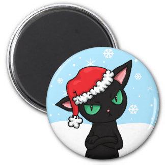 Grumpy Black Cat wearing Santa Hat 2 Inch Round Magnet