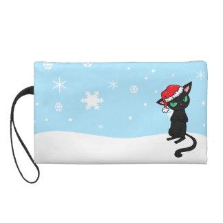 Grumpy Black Cat wearing Santa Hat Wristlet