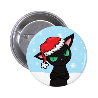 Grumpy Black Cat wearing Santa Hat 2 Inch Round Button