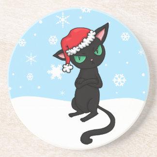 Grumpy Black Cat wearing Santa Hat Coaster