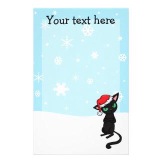 Grumpy Black Cat wearing Santa Hat customisable Stationery