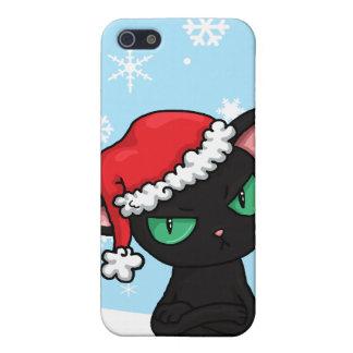 Grumpy Black Cat wearing Santa Hat iPhone SE/5/5s Case