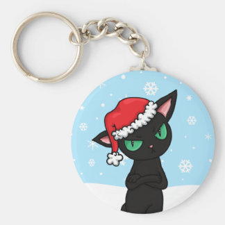 Grumpy Black Cat wearing Santa Hat Keychain
