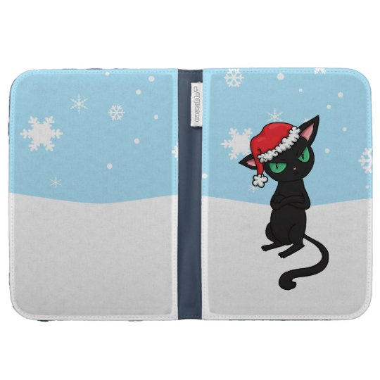 Grumpy Black Cat wearing Santa Hat Kindle 3G Covers