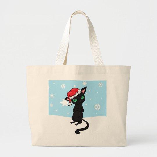 Grumpy Black Cat wearing Santa Hat Large Tote Bag
