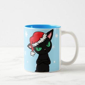 Grumpy Black Cat wearing Santa Hat Coffee Mugs
