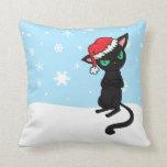 Grumpy Black Cat wearing Santa Hat Pillows