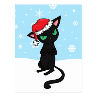 Grumpy Black Cat wearing Santa Hat Postcards