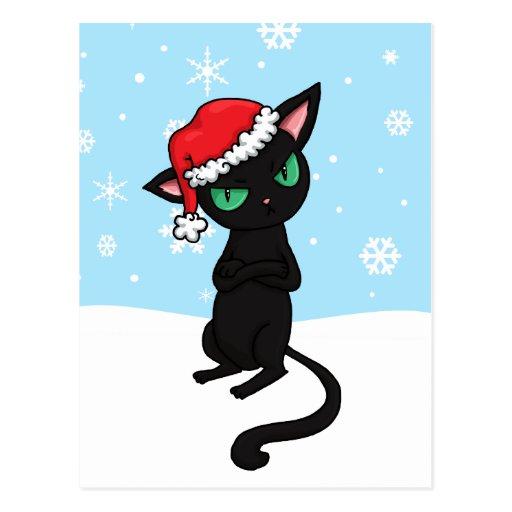Grumpy Black Cat wearing Santa Hat Postcards