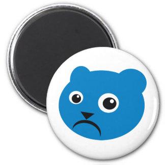 Grumpy Blue Teddy 2 Inch Round Magnet