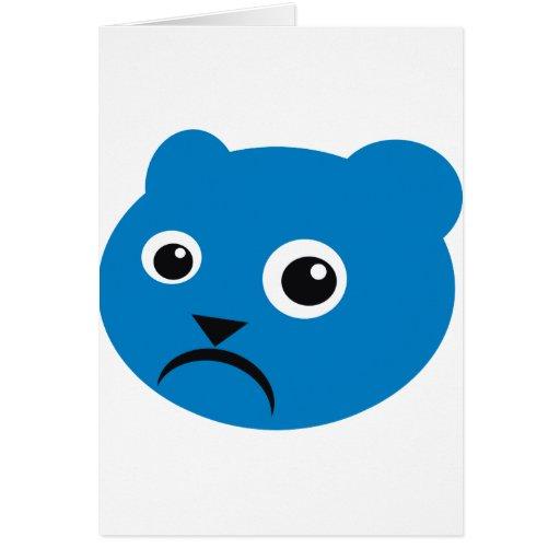 Grumpy Blue Teddy Greeting Card