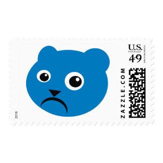 Grumpy Blue Teddy Postage Stamps