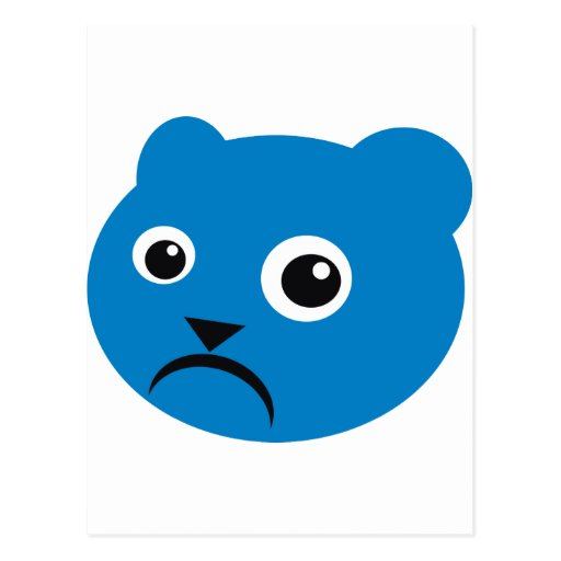 Grumpy Blue Teddy Post Cards