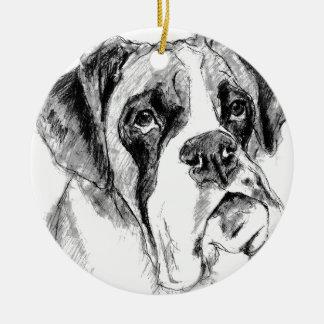 Grumpy boxer ceramic ornament