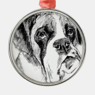 Grumpy boxer metal ornament