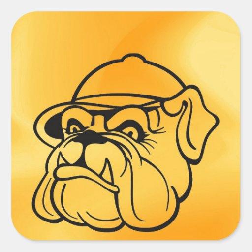 Grumpy Bulldog Square Stickers