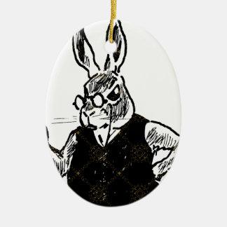 Grumpy Bunny Ceramic Ornament