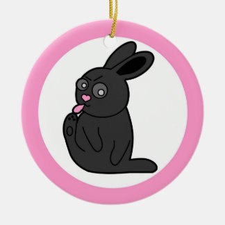 Grumpy Bunny Cleans Her Toes - Pink Ceramic Ornament