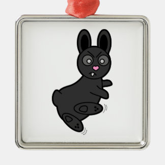 Grumpy Bunny Knows Kung Fu Metal Ornament