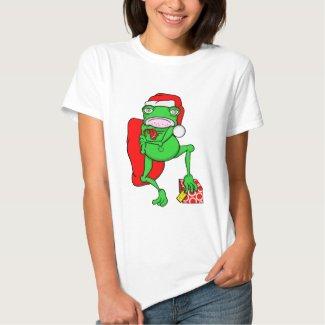 Grumpy Cartoon Frog Helping Santa Claus T-shirts