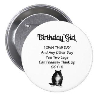 Grumpy Cat Birthday Girl Pin Button