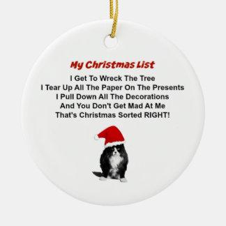 Grumpy Cat Christmas Round Ornament