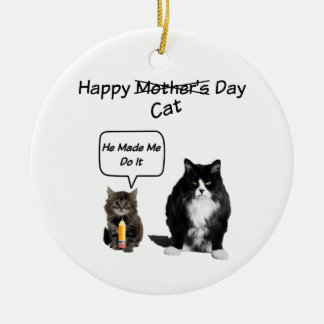 Grumpy Cat/Cute Kitten Mother's Day Round Ornament