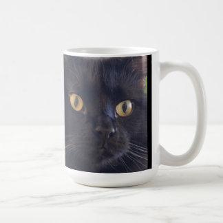 Grumpy Cat Don't Care, Black Grump Cat Face Coffee Mug