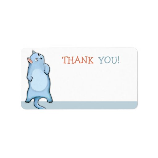 Grumpy Cat George blue Thank You Sticker Custom Address Label