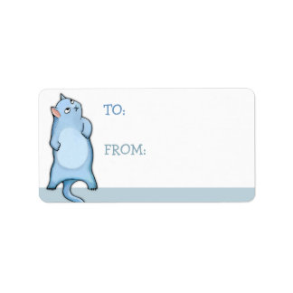 Grumpy Cat George blue white Gift Tag Sticker Label