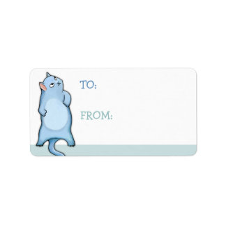 Grumpy Cat George green white Gift Tag Sticker Personalized Address Labels