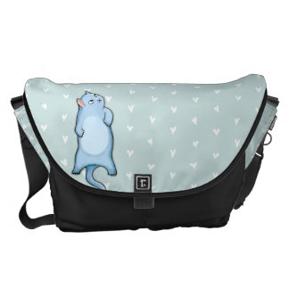 Grumpy Cat George hearts Large Messenger Bag