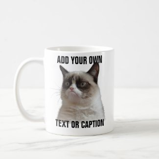 Grumpy Cat Glare - Add your own text Classic White Coffee Mug