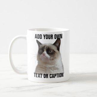 Grumpy Cat Glare - Add your own text Classic White Coffee Mug