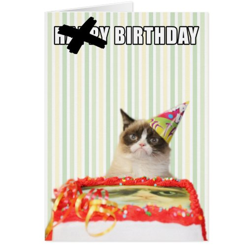 Pin Grumpy Cat Happy Birthday Card 600x600px On Pinterest Grumpy
