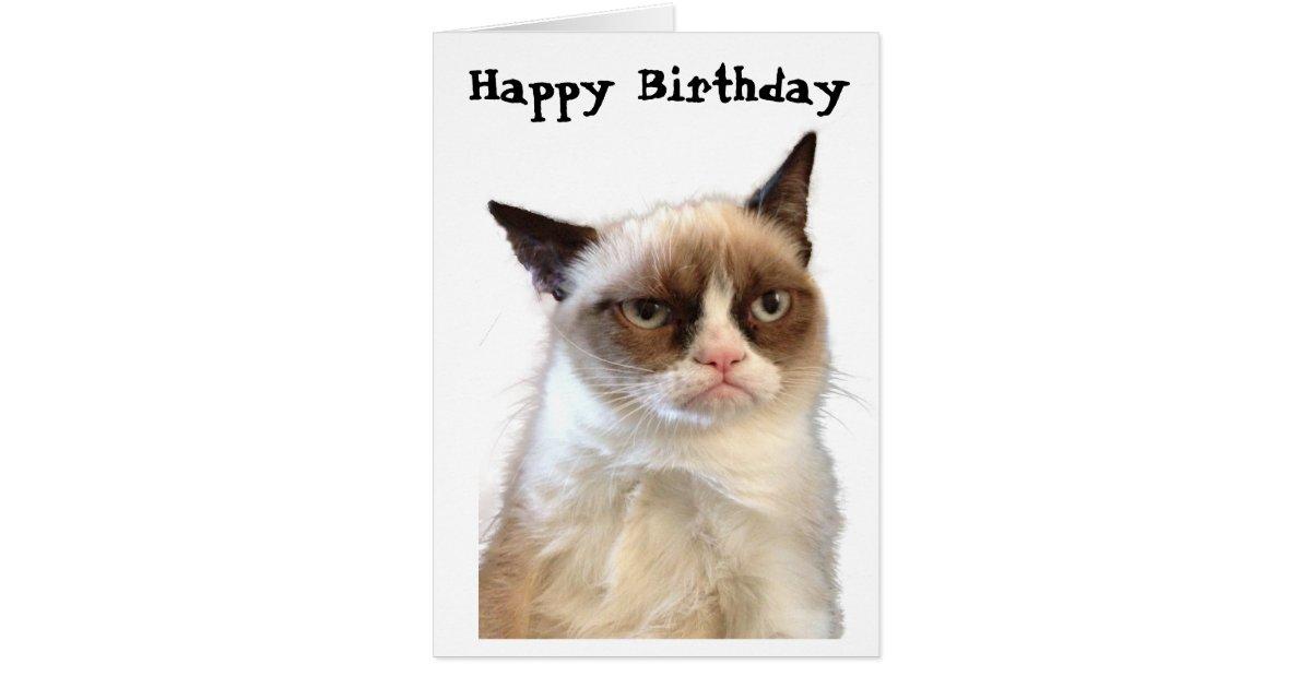 Grumpy Cat Happy Birthday Card Zazzle Com