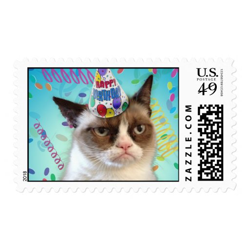 grumpy cat in a birthday hat postage stamps zazzle