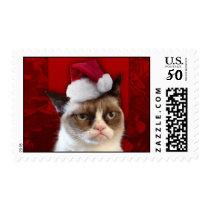 Grumpy Cat in a Santa Hat Postage