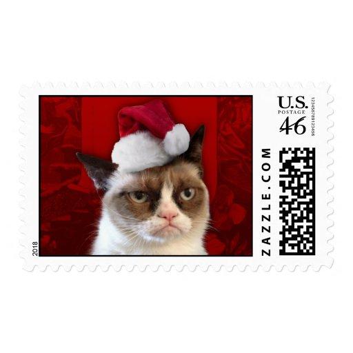 Grumpy Cat in a Santa Hat Postage Stamp
